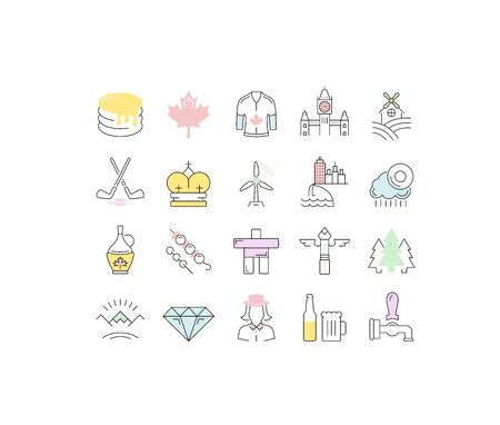 Set vector line icons in flat design Canada, North America and architecture with elements for mobile concepts and web apps. Collection modern infographic and pictogram.