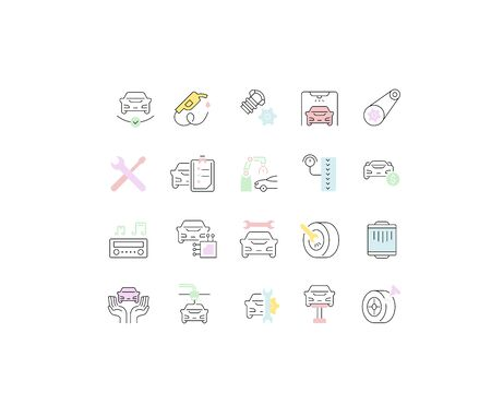 Set of vector line icons of car repair for modern concepts, web and apps. Ilustracja