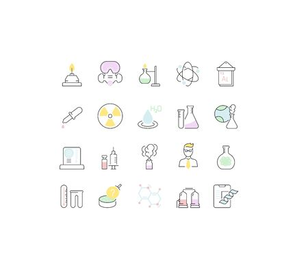 Set of vector line icons of chemistry for modern concepts, web and apps. Vettoriali