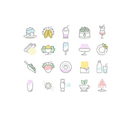 Set vector line icons in flat design chocolate, dessert, cacao and candy with elements for mobile concepts and web apps. Collection modern infographic logo and pictogram. Illustration
