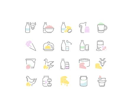 Set of vector line icons, sign and symbols of dairy products for modern concepts, web and apps. Collection of infographics elements and pictograms.