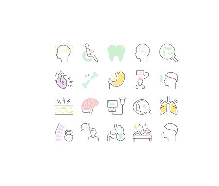 Set vector line icons, sign and symbols in flat design of diseases and ill with elements for mobile concepts and web apps. Collection modern infographic and pictogram.