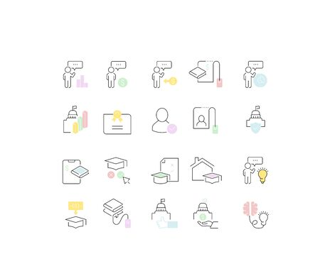 Set of vector line icons of educational business for modern concepts, web and apps. Vectores