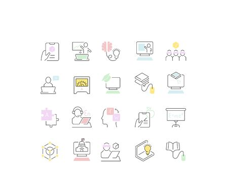 Set of vector line icons of educational technology for modern concepts, web and apps. Ilustracja