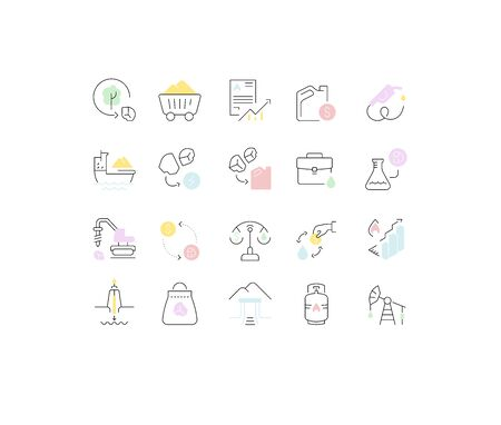 Set of vector line icons of extraction of minerals for modern concepts, web and apps. Vektoros illusztráció