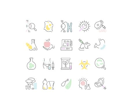 Set of vector line icons, sign and symbols of genome engineering for modern concepts, web and apps. Collection of infographics elements and pictograms. Illustration
