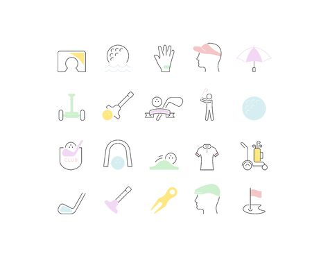 Set of vector line icons of golf for modern concepts, web and apps.