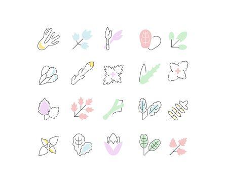 Conjunto de iconos de línea de vector, signo y símbolos con elementos planos de vegetación para conceptos modernos, web y aplicaciones. Colección de infografías y pictogramas.
