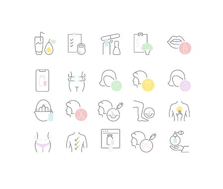 Set of thin linear icons of health and beauty industry for web graphics and apps