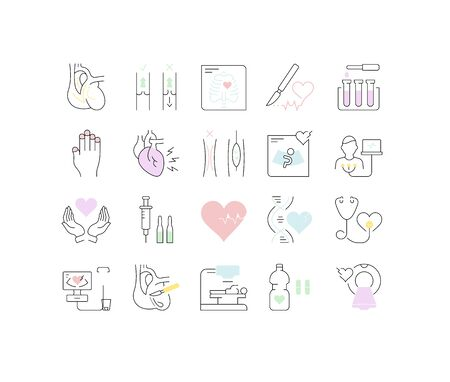 Set vector line icons, sign and symbols in flat design heart defect with elements for mobile concepts and web apps. Collection modern infographic and pictogram. Vector Illustration