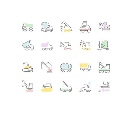 Set of vector line icons, sign and symbols of heavy equipment for modern concepts, web and apps. Collection of infographics elements and pictograms.