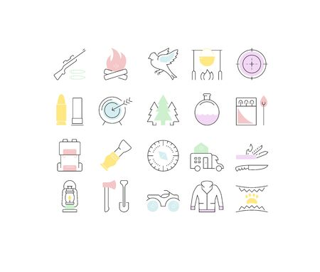 Set vector line icons, sign and symbols in flat design hunting with elements for mobile concepts and web apps. Collection modern infographic and pictogram. Ilustração