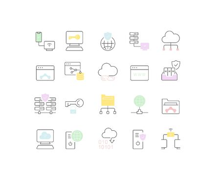Set of vector line icons of internet technology for modern concepts, web and apps. Illustration
