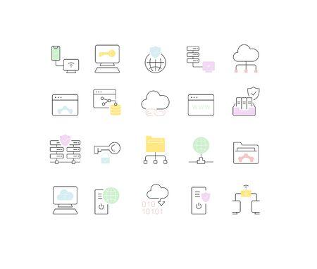 Set of vector line icons of internet technology for modern concepts, web and apps. Ilustração