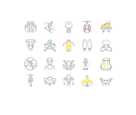 Set of vector line icons of jetpack for modern concepts, web and apps.