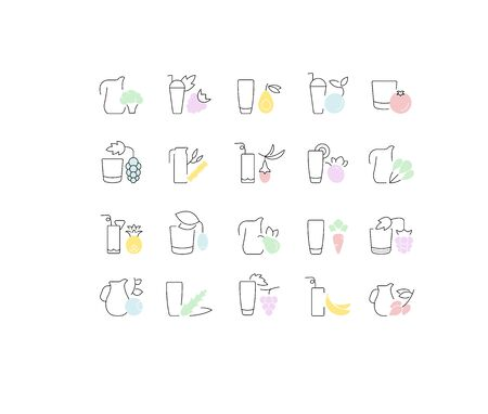 Set of vector line icons, sign and symbols of juices for modern concepts, web and apps. Collection of infographics elements, and pictograms. Çizim
