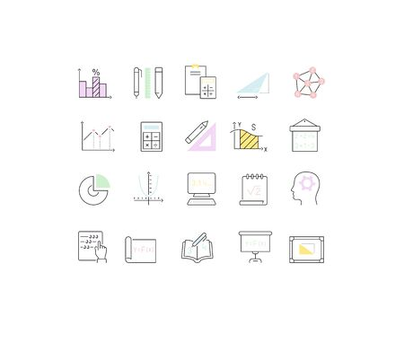 Set of vector line icons of mathematics for modern concepts, web and apps.