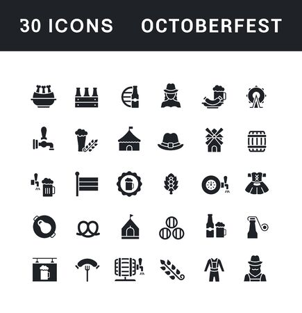 Collection simple icons of octoberfest on a white background. Modern black and white signs for websites, mobile apps, and concepts Illustration