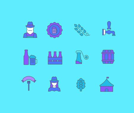 Collection simple icons of octoberfest on a blue background. Modern color signs for websites, mobile apps, and concepts