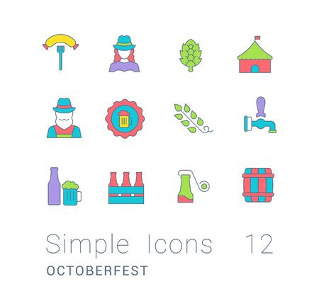 Collection simple icons of octoberfest on a white background. Modern color signs for websites, mobile apps, and concepts