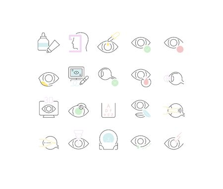 Set of vector line icons of ophthalmology for modern concepts, web and apps. Ilustracja