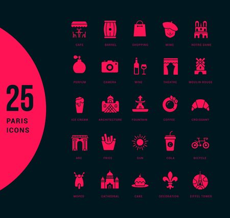 Collection simple icons of paris on a black background. Modern red signs for websites, mobile apps, and concepts