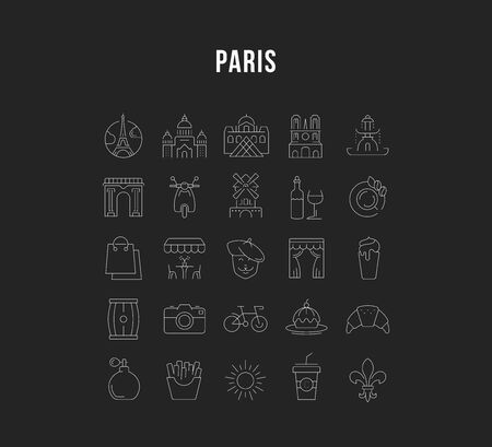 Set vector line icons in flat design Paris and France with elements for mobile concepts and web apps. Collection modern infographic  and pictogram.