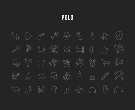 Set of vector line icons of polo for modern concepts, web and apps. 向量圖像