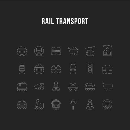 Set of vector line icons, sign and symbols of rail transport for modern concepts, web and apps. Collection of infographics elements, and pictograms.
