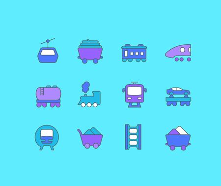 Collection simple icons of rail transport on a blue background. Modern color signs for websites, mobile apps, and concepts