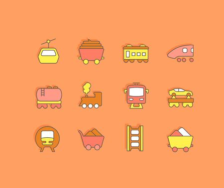 Collection simple icons of rail transport on an orange background. Modern color signs for websites, mobile apps, and concepts