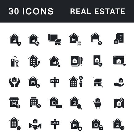 Collection simple icons of real estate on a white background. Modern black and white signs for websites, mobile apps, and concepts Stock Illustratie