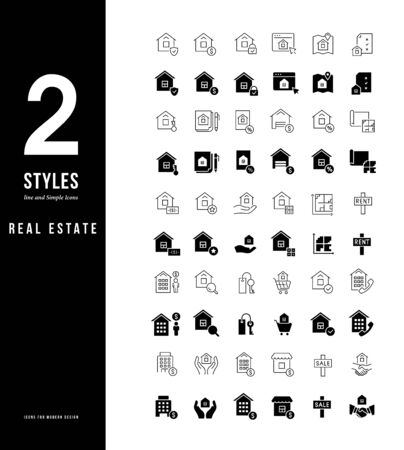 Collection simple and linear icons of real estate on a white background. Modern black and white signs for websites, mobile apps, and concepts Stock Illustratie