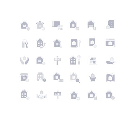 Collection simple icons of real estate on a white background. Modern gray shadows signs for websites, mobile apps, and concepts Stock Illustratie