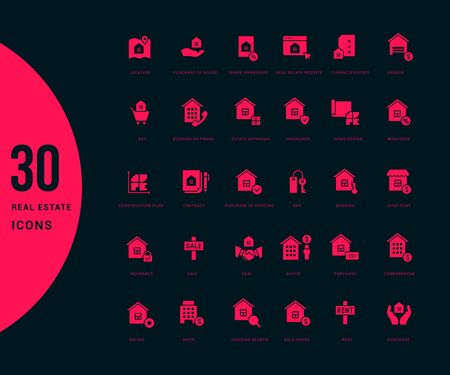 Collection simple icons of real estate on a black background. Modern red signs for websites, mobile apps, and concepts Illustration