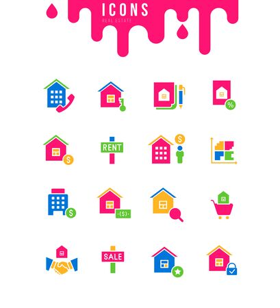 Collection simple icons of real estate on a white background. Modern black and white signs for websites, mobile apps, and concepts Illustration