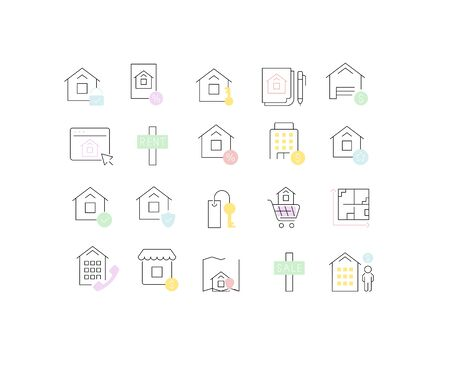 Set of vector line icons of real estate for modern concepts, web and apps.
