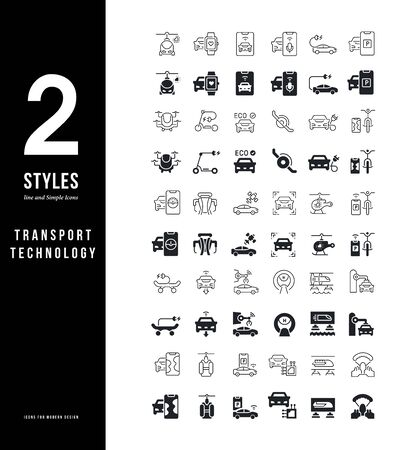 Collection simple and linear icons of transport technology on a white background. Modern black and white signs for websites, mobile apps, and concepts