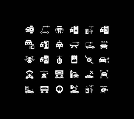 Collection simple icons of transport technology on a black background. Modern white signs for websites, mobile apps, and concepts Vektorové ilustrace