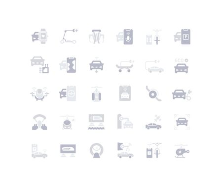 Collection simple icons of transport technology on a white background. Modern gray shadows signs for websites, mobile apps, and concepts