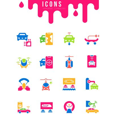 Collection simple icons of transport technology on a white background. Modern black and white signs for websites, mobile apps, and concepts Illustration