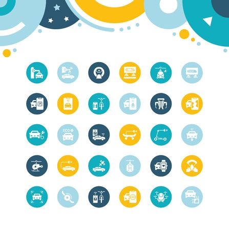 Collection simple icons of transport technology on color circles. Modern white signs for websites, mobile apps, and concepts Illustration