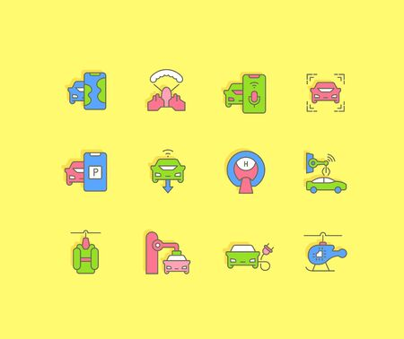 Collection simple icons of transport technology on a yellow background. Modern color signs for websites, mobile apps, and concepts Illustration