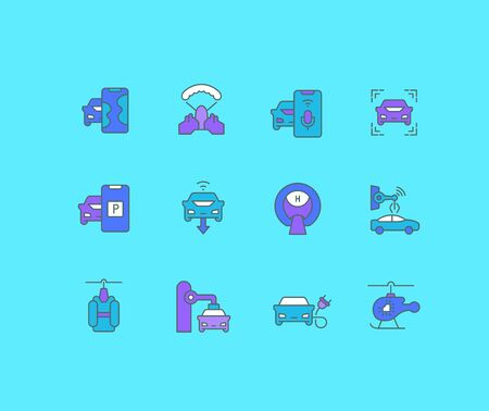 Collection simple icons of transport technology on a blue background. Modern color signs for websites, mobile apps, and concepts Illustration