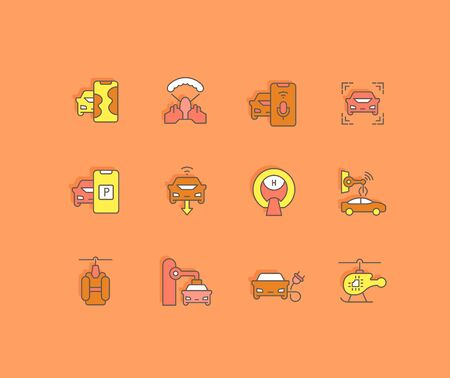 Collection simple icons of transport technology on an orange background. Modern color signs for websites, mobile apps, and concepts