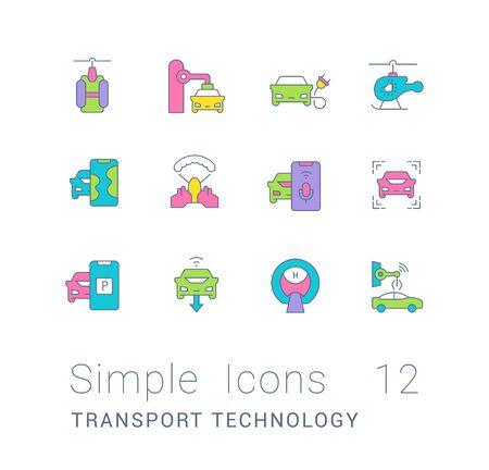 Collection simple icons of transport technology on a white background. Modern color signs for websites, mobile apps, and concepts