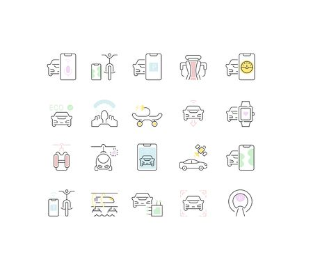 Set of vector line icons of transport technology for modern concepts, web and apps.