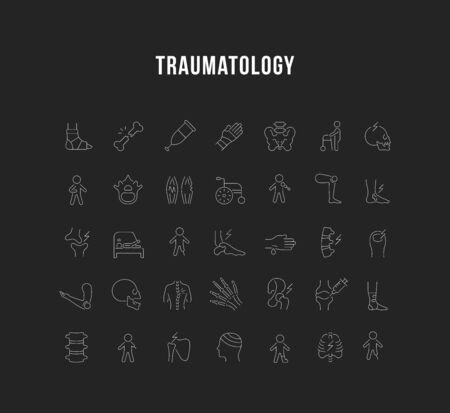 Zestaw ikon linii wektorowych traumatologii dla nowoczesnych koncepcji, sieci i aplikacji.