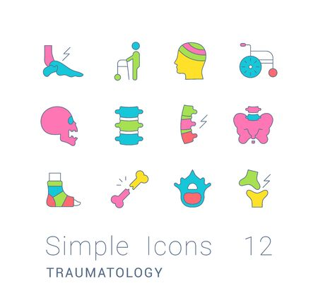 Collection simple icons of traumatology on a white background. Modern color signs for websites, mobile apps, and concepts