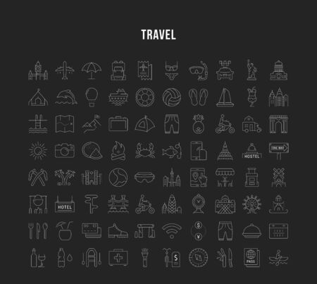 Set vector line icons, sign and symbols in flat design travel and adventure with elements for mobile concepts and web apps. Collection modern infographic  and pictogram. Vettoriali